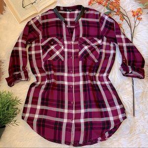 2/$20 Tunic Length Plaid Long Sleeved Shirt